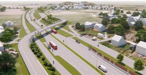 Den nye Rolvsøyveien blir kraftig redusert i omfang. Her ser vi tegningen for den planlagte fylkesvei 109 ved Gullskåret. Foreløpig er det ikke avgjort hvordan nedskaleringen skal foregå.