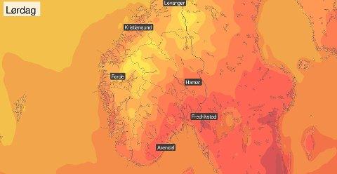 Indre Østfold kan få opp mot 25 varmegrader i helgen.