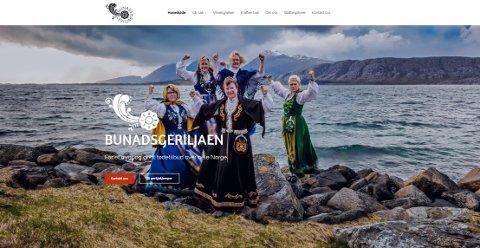 Slik ser fronten ut på hjemmesiden til Bunadsgeriljaen. Dette er ett av flere motiv som vises.