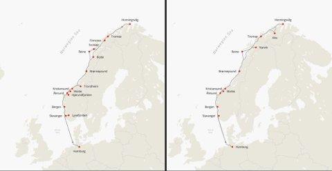 Fra Hamburg skal MS «Otto Sverdrup» skal seile året rundt. Også her er seilingplanene tilpasset årstidene. Sommer til venstre og vinter til høyre på kartet under.