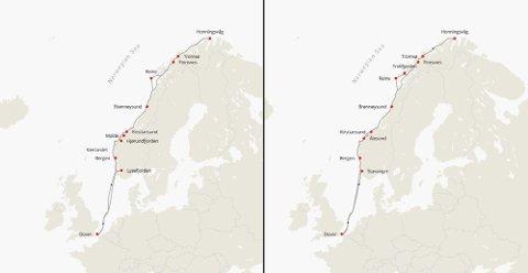 Fra Dover skal MS «Maud» seile langs norskekysten året rundt. Seilingplanen er litt forskjellig på sommer og vinter. Sommer til venstre og vinter til høyre på kartet under.
