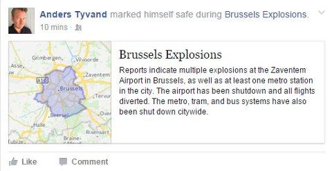 Slik viser Anders Tyvand at han er i trygghet. Han er en av mange som har benyttet denne funskjonen på Facebook i dag.