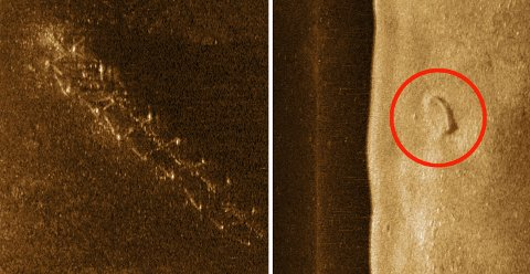 HVA ER DETTE? Disse formasjonene på sjøbunnen er to av de marinarkeologene vil undersøke nærmere. (Sonarmosaikk Norsk Maritimt Museum)