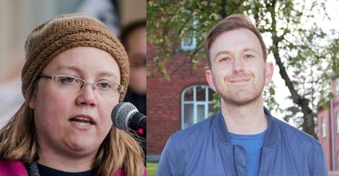 TAKKER: Ap-politikerne Live Holck Johannessen og Edvin Søvik takker de ansatte i Ås kommune.