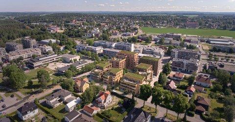 FLERE BOLIGER: Skoleveien 2 AS vil omregullere dette området midt i Ås sentrum til boliger.