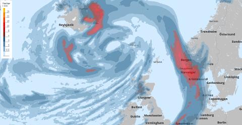 Bildet er henta frå Storm og viser ein frontpassasje som vil sveve over Vestlandet natt til onsdag.