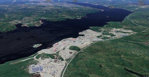 På dette industrikomplekset like nord for Murmansk er mer enn 1400 arbeidere påvist koronasmittet.