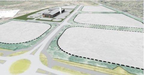 Det vil, etter utbygging av Blålysbygget, være 5 ledige næringstomter i et attraktivt næringsområde med meget strategisk plassering. Foto: Fauske kommune, illustrasjon
