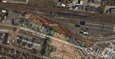 Dette er området på Sundland som nå blir parkeringsplass for hvilende togsett.