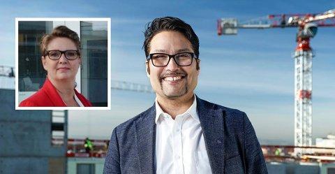 KRITISK: Konsernsjef i OBOS, Daniel Kjørberg Siraj, stiller seg sterkt kritisk til boligpolitikken I Nordre Follo. Ordfører Hanne Opdan diskuterer gjerne løsninger som kan få fart på den sosiale infrastrukturen.