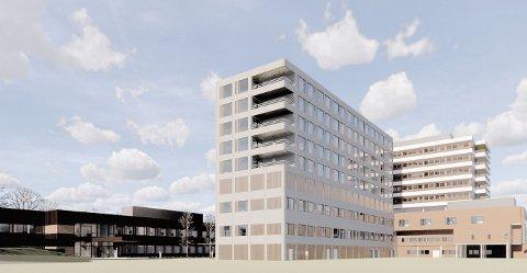 SKISSE: Slik var ambisjonen at Nye Førde sjukehus skulle sjå ut, men no ligg det an til at ambisjonane må skruast kraftig ned.