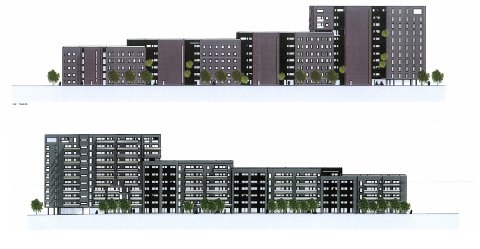 FASADE: Slik ser de grove tegningene for nye Seut Brygge ut. Øverst er fasaden mot øst og Mosseveien, som skal fungere som støyskjerm. På fasaden mot vest og Seutelva blir det utearealer og balkonger. SKISSE: SG Arkitekter