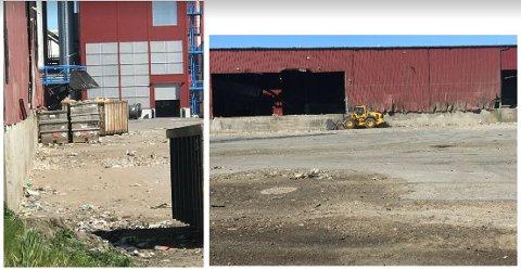 SPRES MED VIND: Fredrikstad kommune peker på at avfallet spres fra åpne lagre. (Illustrasjon: Fredrikstad kommune)