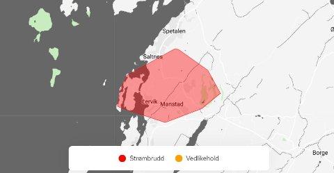Det røde området er rammet av strømbrudd.