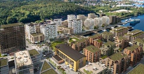 Det aktuelle kinobygget (den gule sveisehallen) har en sentral og strategisk beliggenhet på FMV Vest. Jotne Eiendom er opptatt av at bygget skal huse publikumsrettet aktivitet som kan trekke folk til området.
