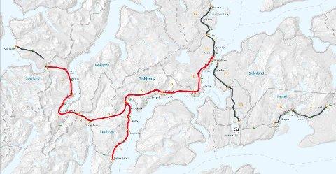 Veien som er markert med rødt er OPS-prosjektet Hålogalandsveien, som er vedtatt tatt inn i nasjonal transportplan.