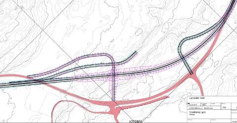 UTKAST TIL FORSLAG: Rosa veg på kartet er dagens riksveg 4. Skraverte vegbaner fra venstre og høyre er foreslåtte vegløsninger inn til Lygnasæter, under en ny riksveg 4.