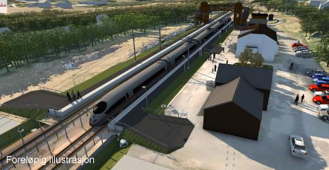 STORE ENDRINGER: Denne illustrasjonen viser hvordan det grovt sett vil bli seende ut på Reinsvoll stasjon når arbeidene er ferdige.