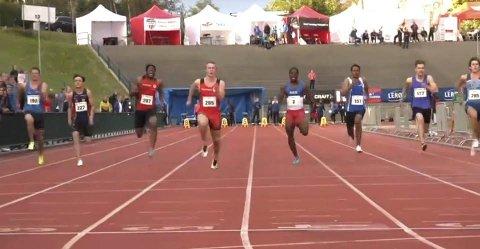 Erik Mikkeljord under 100m finalen i UM 2017. Vinner Mathias Hove Johansen, Idrettslaget Skjalg 10.84 Erik fikk 11.34 og tok en 7. plass