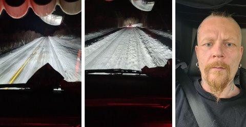 E8 og E21: Den finske tungtransportsjåføren Ismo Eronen er ikke nådig med vintervedlikeholdet i sitt eget hjemland. - Jeg har mistet troen på finske veimyndigheter, sier han. Foto: Privat