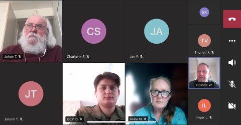 Gruppelederne møttes til et digitalt møte tidligere denne uka. Skjermdump: Sondre Lindhagen Nilssen