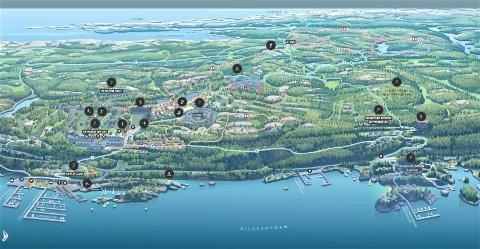 KONTROLLERER MYE: Ivar Tollefsen er eneste aksjeeier i Fredensborg-konsernet, som de siste årene har satset betydelig på Stabbestad. Det interaktive kartet er utviklet av svenske Reintzmap.
