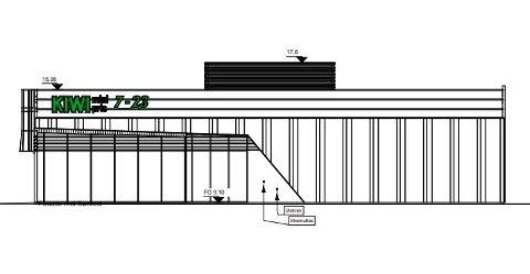 Fasadetegning av butikken som skal hus Kiwi Leknes på Leknessletta. Den skal bygges og eies av Teft.