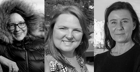 F.v. Kjersti Eline T. Busch i SALT,  Monica Kleffelgård Hartviksen i Clean Up Lofoten og Ann-Helen Ernstsen ved Senter for oljevern og marint miljø.