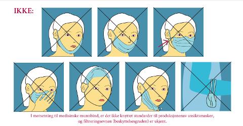IKKE BRUK MUNNBIND SLIK: FHI har en rekke anbefalinger om bruken av munnbind. Tøymunnbind bør ikke fryses, da det ikke er dokumentert at det beskytter mot virus.