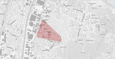 Dette området på Tiller er berørt av strømfeilen.