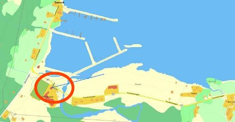 SENTRAL BELIGGENHET: Her ønsker befolkningen i Tromvik på Kvaløya å få et offentlig toalett. Illustrasjon: Tromvik utviklingslag