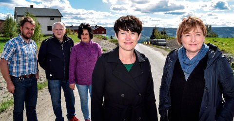 PÅ BANEN: Etter et innbyggerinitiativ har lokale folkevalgte i Søndre Land fått fylkespolitikerne Aud Hove (Sp, t.v.) og Anne Thoresen (Ap) på banen for veibelysning langs Fylkesveg 247 ned mot Hov. Bak f.v. Geir Martin Steinsli (Sp), Jon Odden (Ap) og Anne Hagenborg (Ap).
