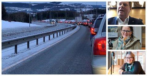 FIKK IKKE GEHØR HOS ERNA & CO: Oddvar Møllerløkken, Kari-Anne Jønnes og Anne Bjertnæs forstår at Raufoss-industrien er skuffet. De oppfordrer til å fortsette arbeidet for å få riksvei fire inn i planen.
