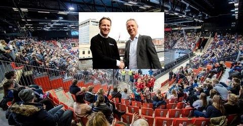FORNØYDE: Generalsekretær i Norges Håndballforbund, Erik Langerud (venstre), og konsernsjef i Amedia, Are Stokstad, er fornøyd med avtalen og håper den vil være med på å øke oppmerksomheten rundt den norske eliteserien i håndball.