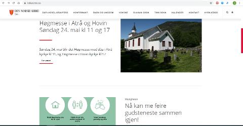 INVITERER: Slik markerer kirken i Tinn på sin nettside at de igjen kan invitere til kriken, for første gang siden 13. mars.