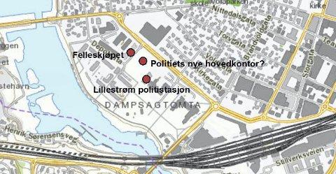 Nytt hovedkontor? Skedsmo kommune eier tomta mellom Lillestrøm politistasjon og Felleskjøpet i Lillestrøm. Her vil ordføreren plassere politiet hovedkontor.