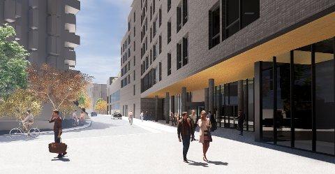 NYTT HOTELL: Det nye hotellet ved skihallen vil tilby cirka 300 gjesterom. Illustrasjon: Hille Melbye Arkitekter AS