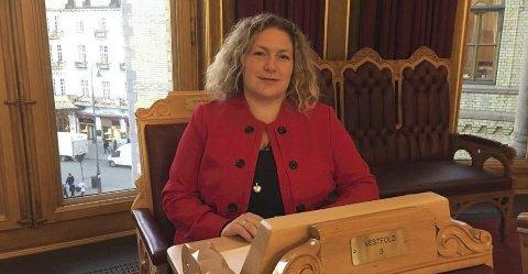 STORTINGSVIKAR: Andebus Hilde Hoff Håkonsen (Ap) holdt et innlegg under finansdebatten i Stortinget mandag. Foto: Privat Bildeteks