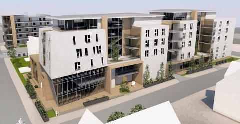 LAVERE: Slik ser det reviderte nærings- og boilgprosjektet vest for Dronningens gate ut. Det behandles i planutvalget 11. april. Nå har det fem etasjer pluss en tilbaketrukket sjette. (Illustrasjon: PV Arkitekter)
