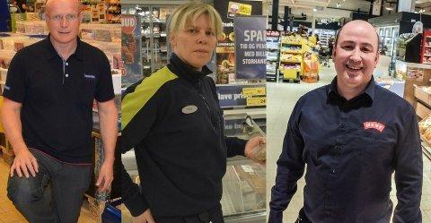 DE STØRSTE BUTIKKENE: Frode Pettersen (til venstre), Hilda Fjeldaas og Martin Slevig driver de butikkene i Indre Østfold der kundene legger igjen mest penger.