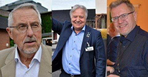 LOKAL STØTTE: Petter Schou, Olav Breivik og Erik Unaas håper nok alle på støtte fra kommunen de fra før er ordfører i.