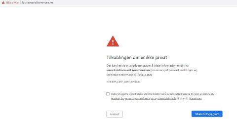 Dette synet møter brukere som gikk inn på Kristiansund kommunes hjemmeside.