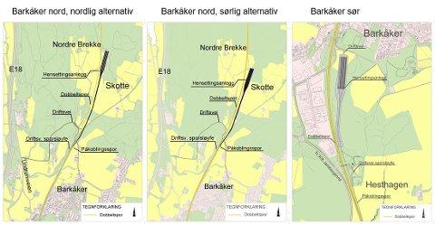 DE TRE ALTERNATIVENE: Bildet viser de tre stedene som kan være aktuelle for togparkeringsanlegget.