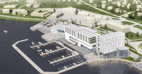 Spenstig: Illustrasjonen viser hvordan Meløygruppens kjøpesenterpå Ørnes er tenkt utformet. Det blir på to etasjer, med butikkhandel og servering i første, næring og service i andre, og leiligheter over det igjen. Sør for senteret er det tenkt oppført et hotellbygg. Voll arkitekter