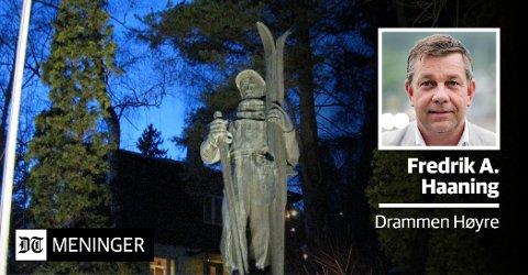 VIL HA HAUERN TIL SPIRALEN: «Statuen av Thorleif Haug fortjener synlighet», skriver Fredrik A. Haaning i Drammen Høyre.