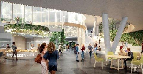 Arkitektene ser for seg at et stort vrimleareal med resepsjon, elevkafé og kantine er det første som møter folk på nye Frederik II. Tegning: Link Arkitektur og Griff Arkitektur