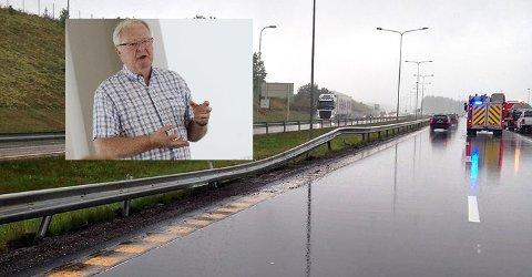 KRITISK: Øyvind Kvaal kjører 30.000 kilometer i året og ferdes mye på veiene: – Det er ikke skiltingen på E18 det er noe veien med, det er bilistenes holdninger til fart, vær og trafikksikkerhet som er problemet.