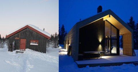 56.000 kroner skiller ti dagers juleferie i disse hyttene. Til venstre fjellstyrehytta Reinsåshytta i Gausdal Vestfjell med 7 sengeplasser. Til høyre en privat moderne hytte på Sjusjøen med 14 sengeplasser.