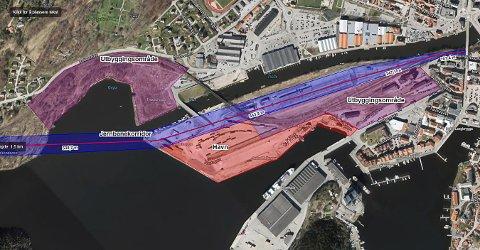 SLIK KAN DET BLI: Bildet viser hvilket området posisjonen ønsker at skal brukes til jernbanespor i sentrum. Det blå skal brukes til jernbane. De andre markerte områdene viser de båndlagte områdene som kommunen vil ha frigjort for å kunne utvikle dem uavhengig av InterCity.