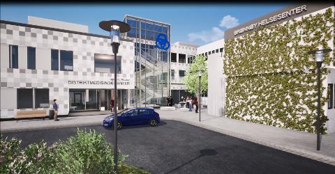 SKISSE: Slik vil det planlagte distrikts-medisinske senteret i Brønnøysund se ut når det står ferdig.